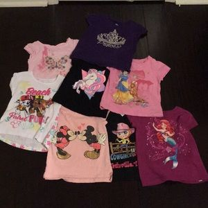 Bundle 8 toddler girl short sleeve graphic tees 3T